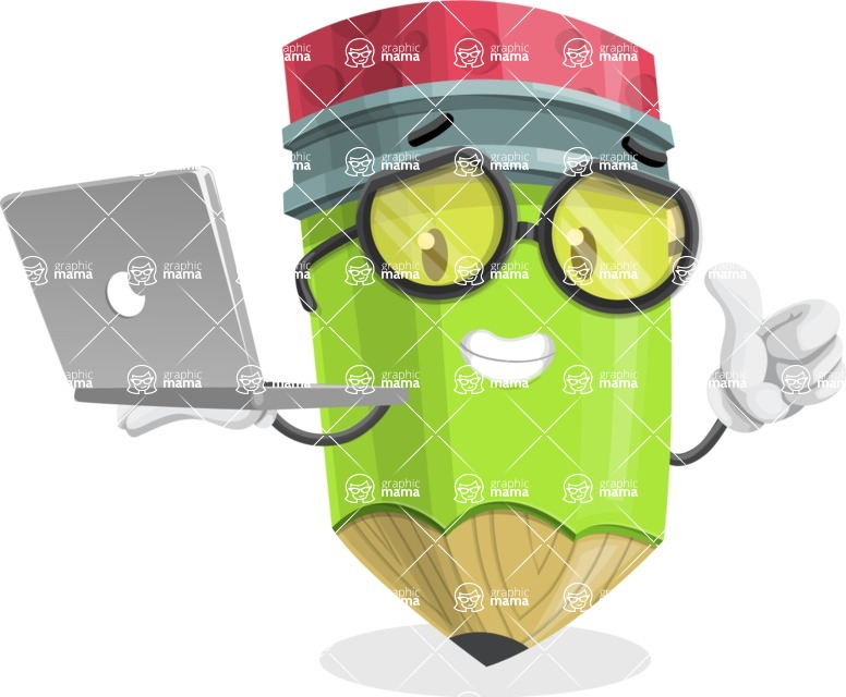 Cute Pencil Cartoon Vector Character AKA Woody the Nerdy Pencil - With a Laptop