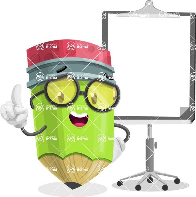 Cute Pencil Cartoon Vector Character AKA Woody the Nerdy Pencil - With Blank Presentation Board