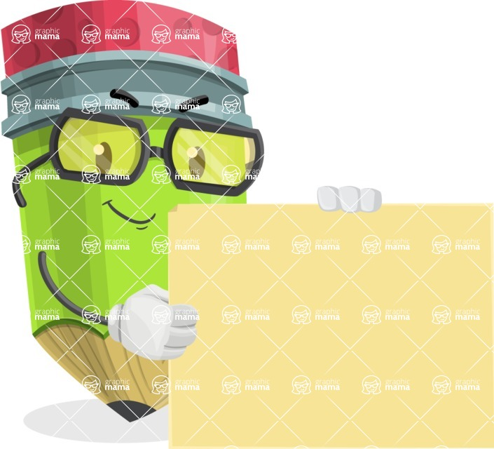 Cute Pencil Cartoon Vector Character AKA Woody the Nerdy Pencil - With Blank Presentation Sign