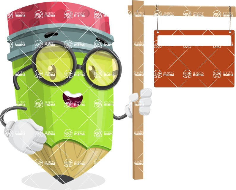 Cute Pencil Cartoon Vector Character AKA Woody the Nerdy Pencil - With Blank Real Estate Sign