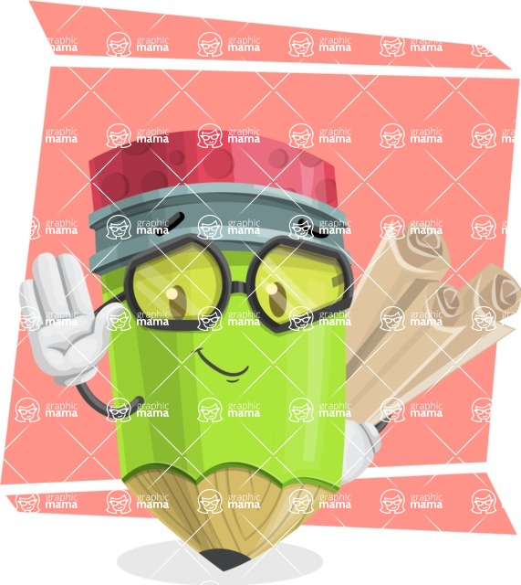 Cute Pencil Cartoon Vector Character AKA Woody the Nerdy Pencil - With Papers Concept Illustration
