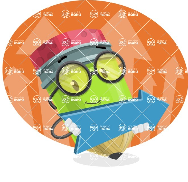 Cute Pencil Cartoon Vector Character AKA Woody the Nerdy Pencil - With Positive Statistics Illustration