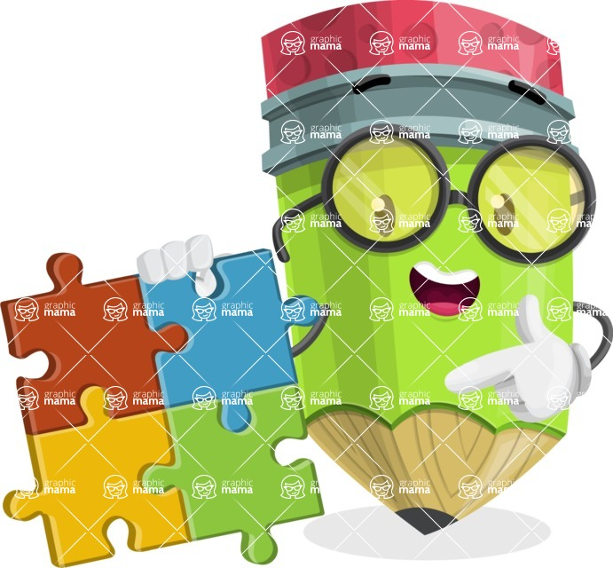 Cute Pencil Cartoon Vector Character AKA Woody the Nerdy Pencil - with Puzzle