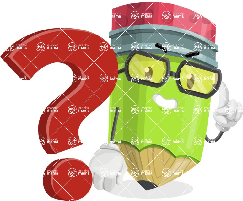 Cute Pencil Cartoon Vector Character AKA Woody the Nerdy Pencil - with Question mark