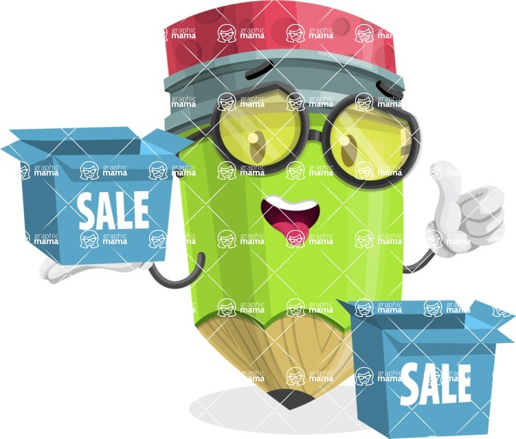 Cute Pencil Cartoon Vector Character AKA Woody the Nerdy Pencil - With Sale Boxes