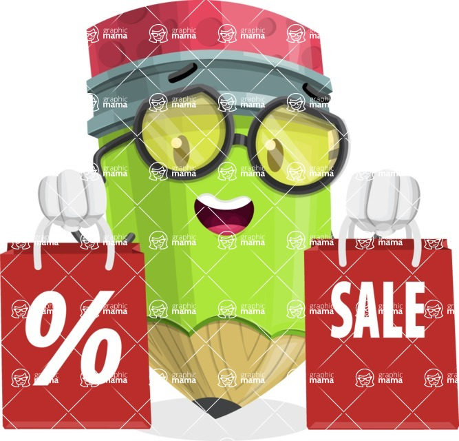 Cute Pencil Cartoon Vector Character AKA Woody the Nerdy Pencil - With Shopping Bags