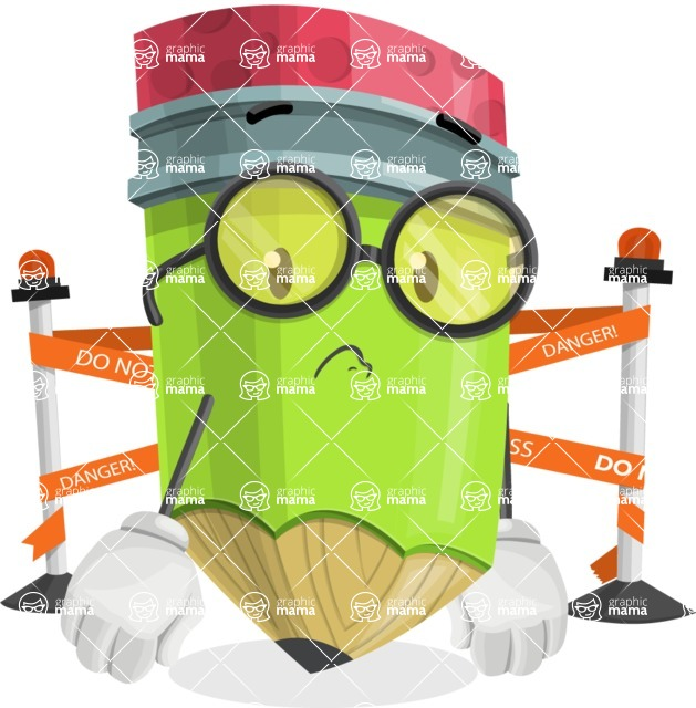 Cute Pencil Cartoon Vector Character AKA Woody the Nerdy Pencil - with Under Construction sign