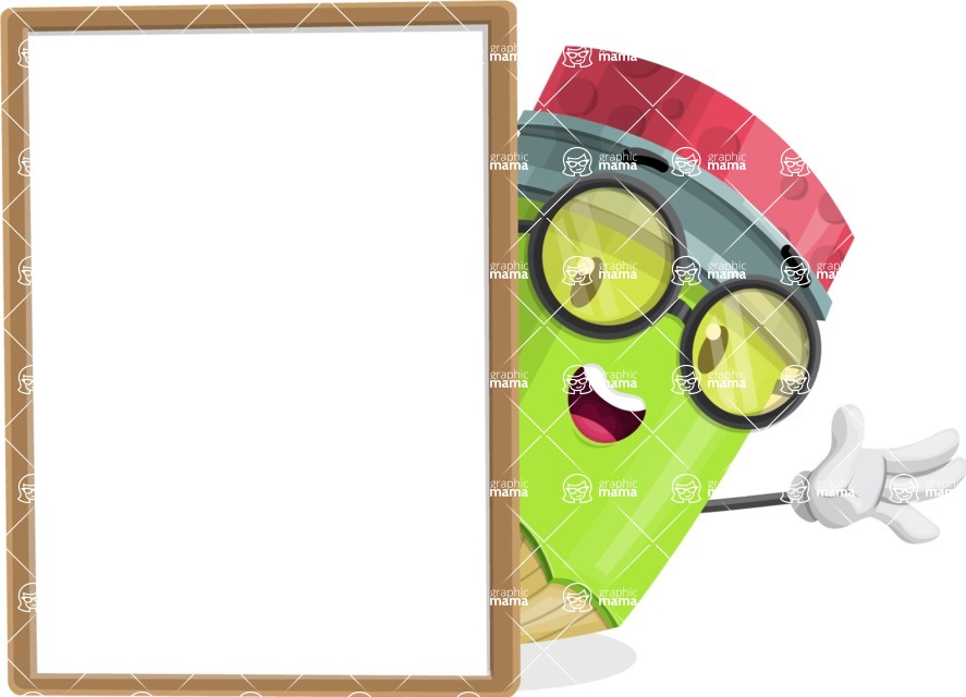 Cute Pencil Cartoon Vector Character AKA Woody the Nerdy Pencil - With Whiteboard and Smiling