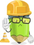 Cute Pencil Cartoon Vector Character AKA Woody the Nerdy Pencil - as a Construction worker