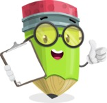 Cute Pencil Cartoon Vector Character AKA Woody the Nerdy Pencil - Being Happy and Showing a Notepad