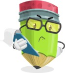Cute Pencil Cartoon Vector Character AKA Woody the Nerdy Pencil - Being Sad Holding a Notepad