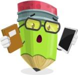 Cute Pencil Cartoon Vector Character AKA Woody the Nerdy Pencil - Choosing between Book and Tablet