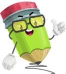Cute Pencil Cartoon Vector Character AKA Woody the Nerdy Pencil - Drawing