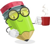 Cute Pencil Cartoon Vector Character AKA Woody the Nerdy Pencil - Drinking Cup of Coffee