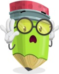 Cute Pencil Cartoon Vector Character AKA Woody the Nerdy Pencil - Feeling Shocked