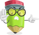 Cute Pencil Cartoon Vector Character AKA Woody the Nerdy Pencil - Finger pointing with angry face