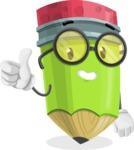 Cute Pencil Cartoon Vector Character AKA Woody the Nerdy Pencil - Giving Thumbs Up