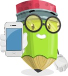 Cute Pencil Cartoon Vector Character AKA Woody the Nerdy Pencil - Holding a Mobile Phone