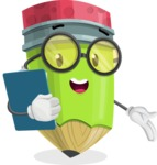 Cute Pencil Cartoon Vector Character AKA Woody the Nerdy Pencil - Holding a Notepad