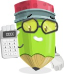 Cute Pencil Cartoon Vector Character AKA Woody the Nerdy Pencil - Holding Calculator