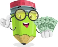 Cute Pencil Cartoon Vector Character AKA Woody the Nerdy Pencil - Holding Cash Money Banknotes