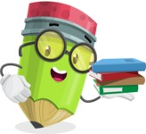 Cute Pencil Cartoon Vector Character AKA Woody the Nerdy Pencil - Holding Education Books
