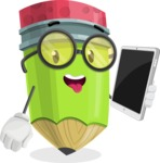 Cute Pencil Cartoon Vector Character AKA Woody the Nerdy Pencil - Holding Tablet