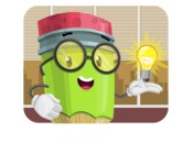 Cute Pencil Cartoon Vector Character AKA Woody the Nerdy Pencil - In Office Illustration Concept