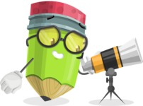 Cute Pencil Cartoon Vector Character AKA Woody the Nerdy Pencil - Looking through telescope
