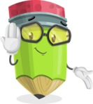 Cute Pencil Cartoon Vector Character AKA Woody the Nerdy Pencil - Making Oops gesture