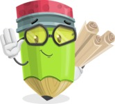 Cute Pencil Cartoon Vector Character AKA Woody the Nerdy Pencil - Making Plans