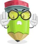 Cute Pencil Cartoon Vector Character AKA Woody the Nerdy Pencil - Making stop gesture