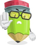 Cute Pencil Cartoon Vector Character AKA Woody the Nerdy Pencil - Making stop with a hand