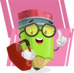 Cute Pencil Cartoon Vector Character AKA Woody the Nerdy Pencil - On Modern Simple Shapes Background