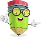 Cute Pencil Cartoon Vector Character AKA Woody the Nerdy Pencil - Pointing and Smiling