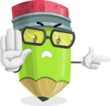 Cute Pencil Cartoon Vector Character AKA Woody the Nerdy Pencil - Pointing with a Finger