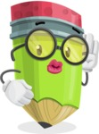 Cute Pencil Cartoon Vector Character AKA Woody the Nerdy Pencil - Posing for a Selfie