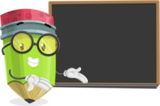 Cute Pencil Cartoon Vector Character AKA Woody the Nerdy Pencil - Presenting on Blackboard