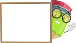 Cute Pencil Cartoon Vector Character AKA Woody the Nerdy Pencil - Presenting on Blank Whiteboard Template