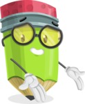 Cute Pencil Cartoon Vector Character AKA Woody the Nerdy Pencil - Presenting