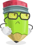 Cute Pencil Cartoon Vector Character AKA Woody the Nerdy Pencil - Rolling Eyes