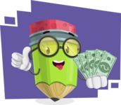 Cute Pencil Cartoon Vector Character AKA Woody the Nerdy Pencil - With Money Cartoon Illustration