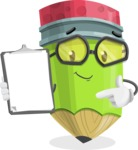 Cute Pencil Cartoon Vector Character AKA Woody the Nerdy Pencil - Showing a Notepad