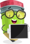 Cute Pencil Cartoon Vector Character AKA Woody the Nerdy Pencil - Showing Blank Tablet