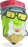 Cute Pencil Cartoon Vector Character AKA Woody the Nerdy Pencil - Showing Love with Heart
