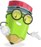 Cute Pencil Cartoon Vector Character AKA Woody the Nerdy Pencil - Showing with a Smile