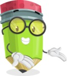 Cute Pencil Cartoon Vector Character AKA Woody the Nerdy Pencil - Showing with Both Hands