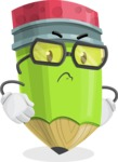 Cute Pencil Cartoon Vector Character AKA Woody the Nerdy Pencil - Waiting