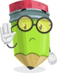 Cute Pencil Cartoon Vector Character AKA Woody the Nerdy Pencil - Waving for Goodbye with a Hand