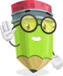 Cute Pencil Cartoon Vector Character AKA Woody the Nerdy Pencil - Waving for Hello with a Smiling Face